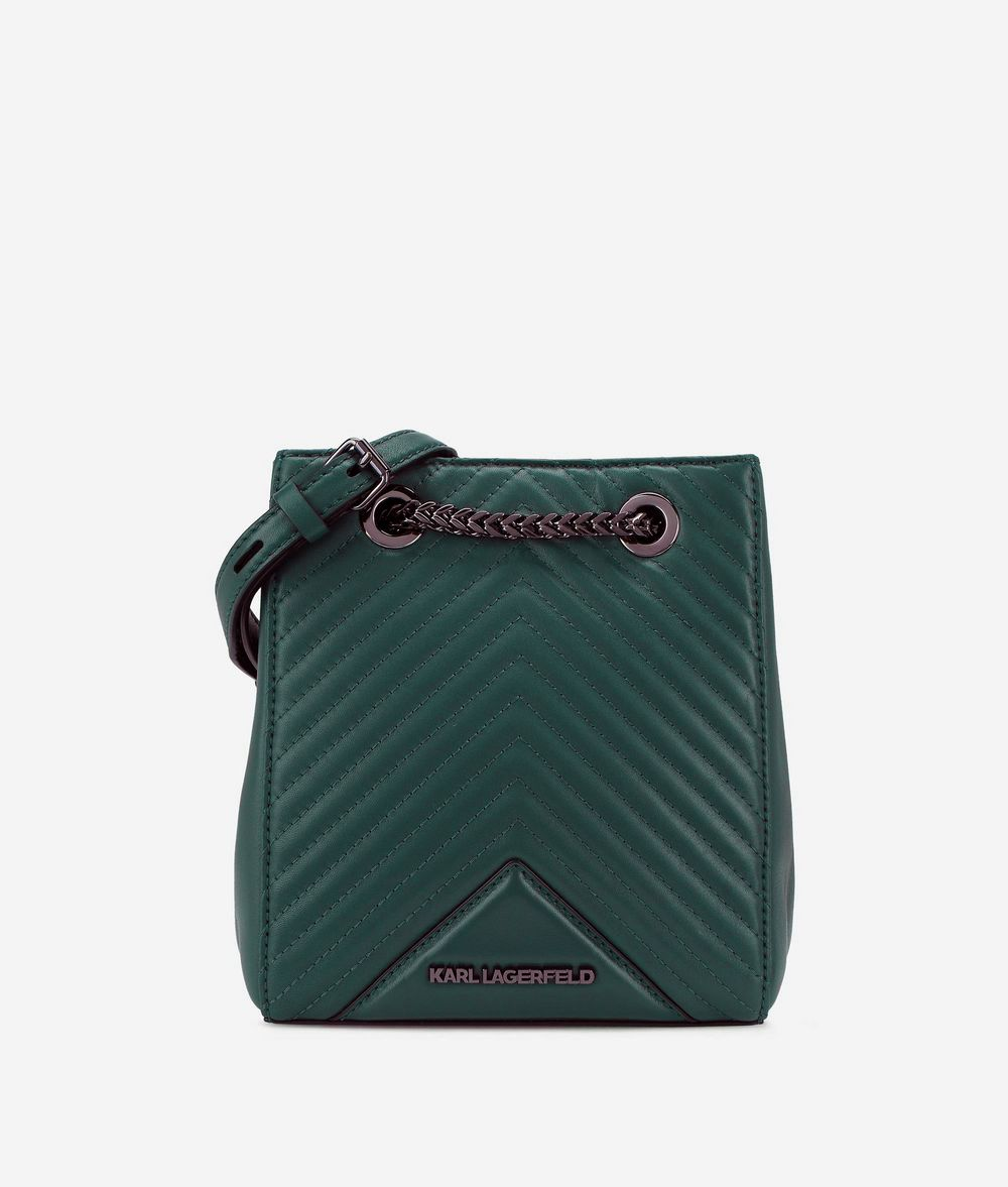 KARL LAGERFELD K/Klassik Bucket Bag aus Leder mit gesteppten Details Tasche mit Kordelzug Damen f