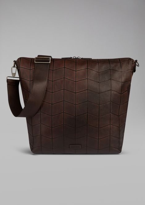 Cross body hobo bag in chevron embroidered nappa leather