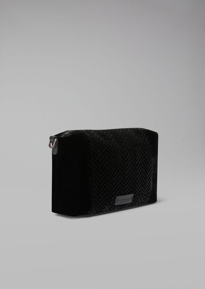 ceab58f4b1f2 Home · Giorgio Armani  Velvet clutch with chevron insert. Runway item