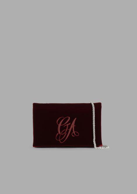 Velvet crossbody bag with embroidered logo
