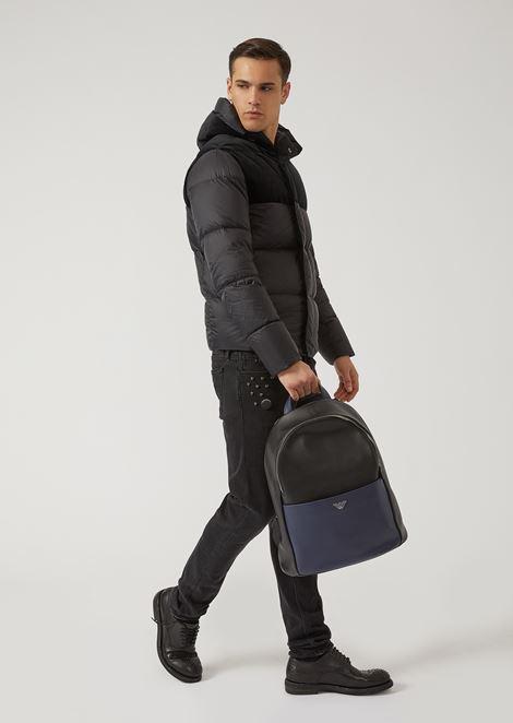 Рюкзак из кожи с искусственной мереей и передним карманом