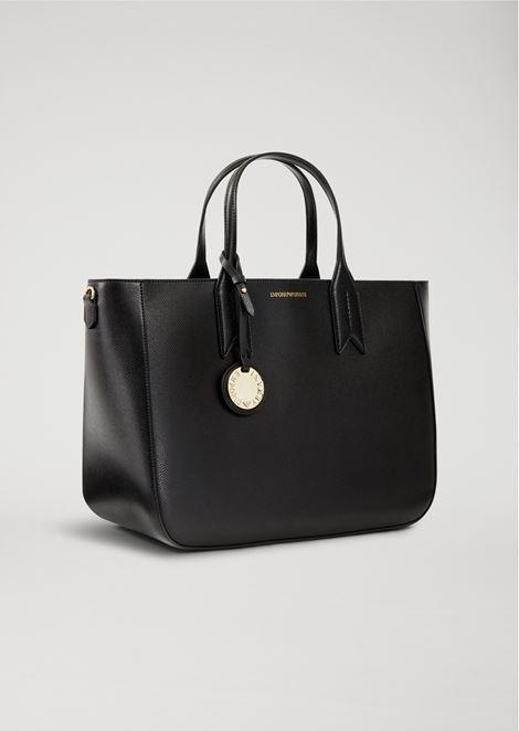 Medium shopper bag with logo charm and detachable strap