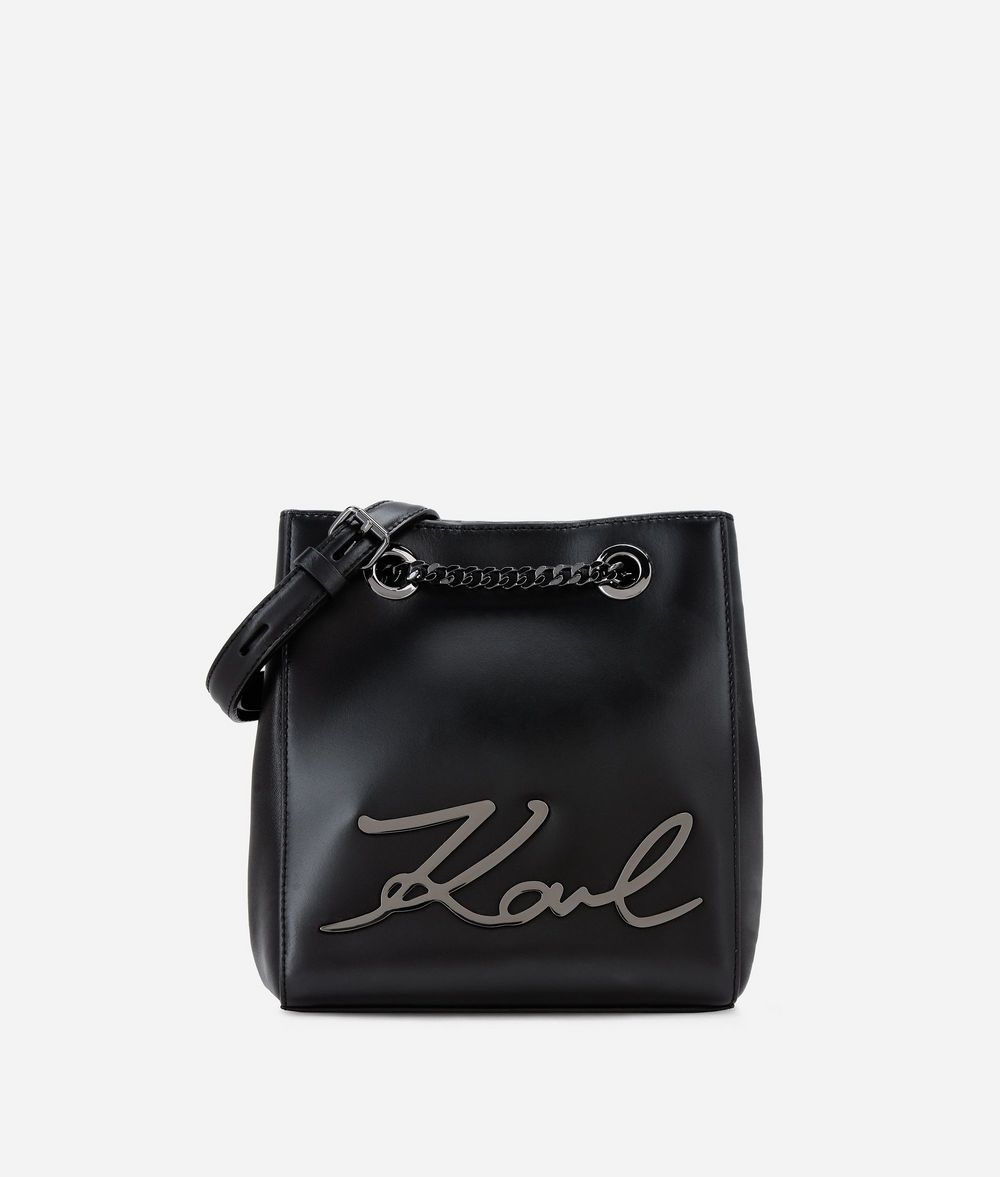 KARL LAGERFELD K/Signature Leather Bucket Bag Drawstring bag Woman f