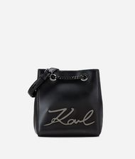 KARL LAGERFELD K/Signature Leather Bucket Bag 9_f