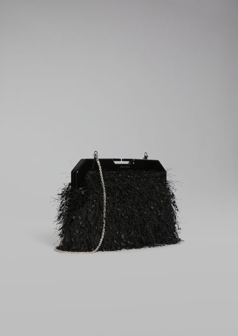 Gauri fabric clutch with thin metal chain