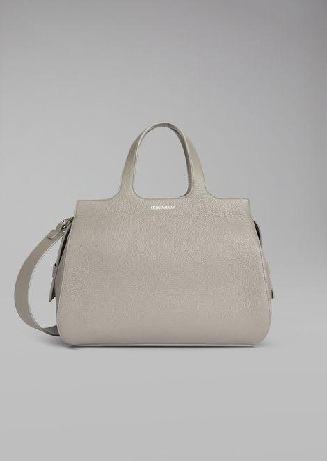 Handtasche aus Narbenleder mit abnehmbarem Tragriemen