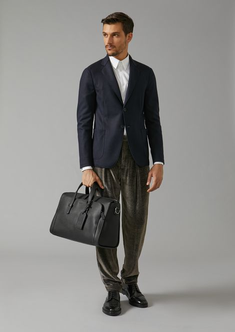 Grainy leather holdall with name tag