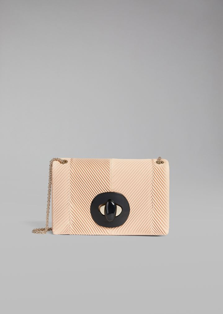 4a8e0bd8b7 Pleated chevron leather crossbody bag with plexiglass closure