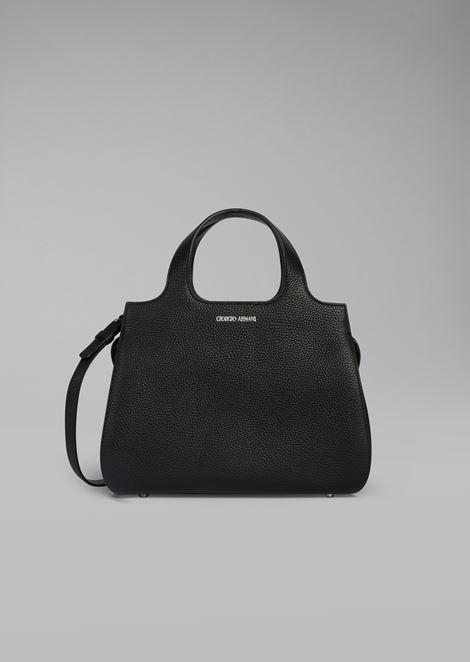 Дамская сумка из зернистой кожи со съёмным ремешком