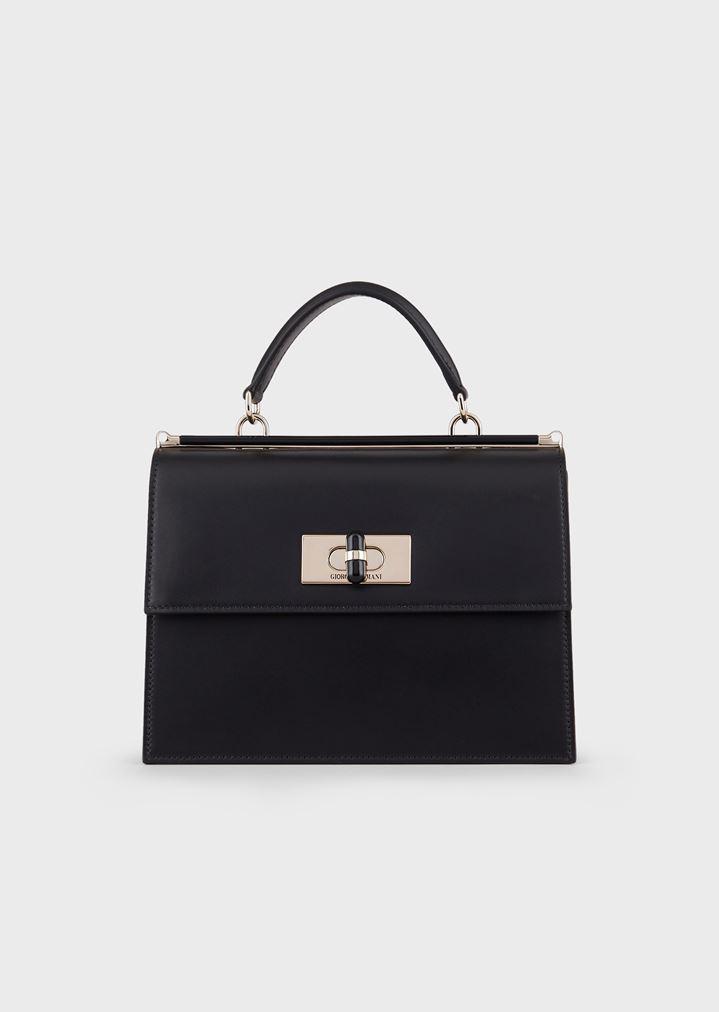 4303534661 Borgonuovo 11 smooth leather handbag with plexiglass turn lock and details