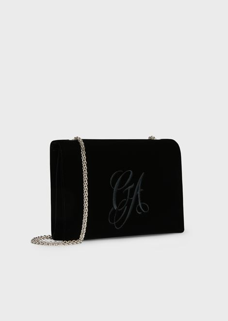 Velvet crossbody bag with embroidered logo