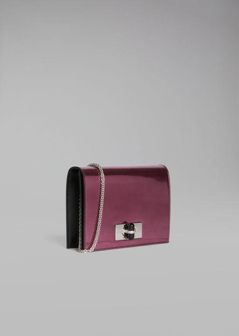 Borgonuovo 11 metallised patent leather mini crossbody bag