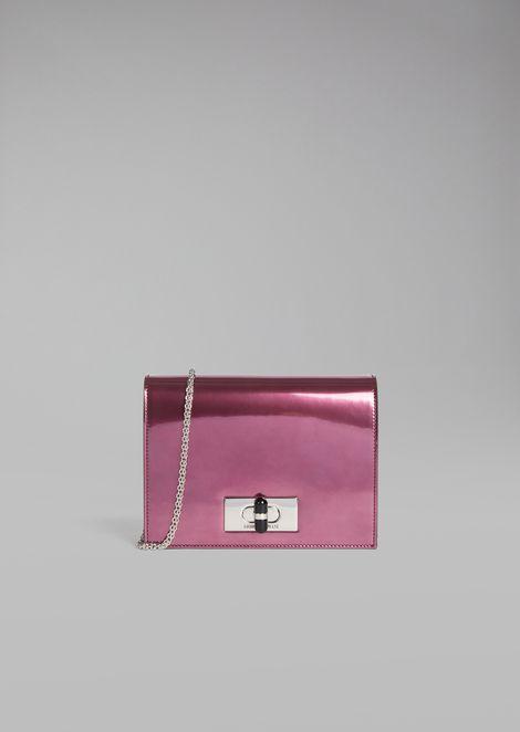 Mini-borsa Borgonuovo 11 a tracolla in pelle verniciata e metallizzata