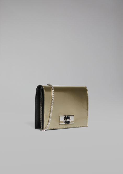 Mini Crossbody Bag Borgonuovo 11 aus lackiertem und metallisiertem Leder