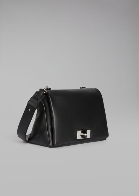 Two-tone nappa leather shoulder bag with plexiglas turn lock