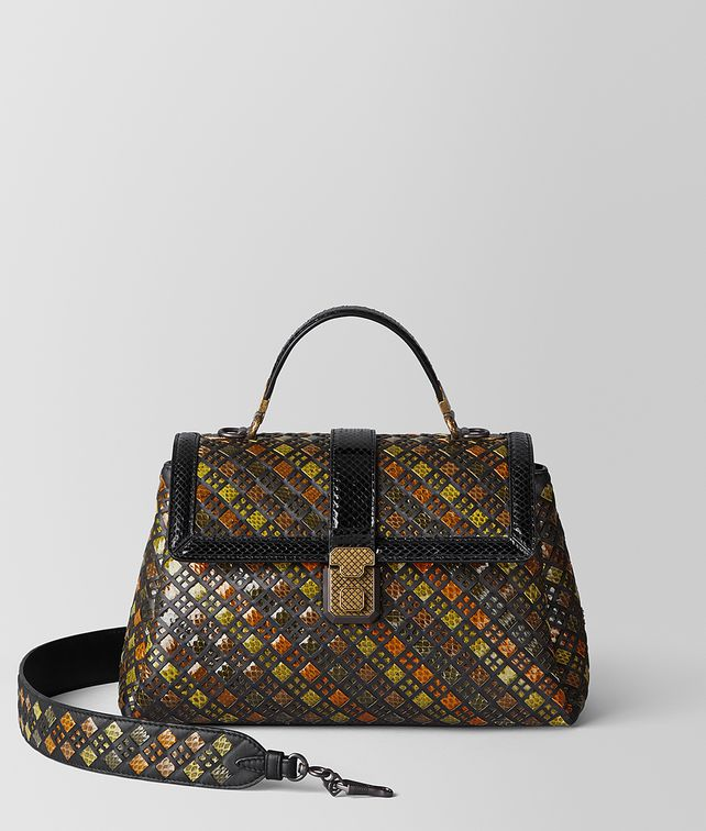 BOTTEGA VENETA MULTICOLOR NAPPA AYERS INTRECCIATO STAINED GLASS PIAZZA BAG Top Handle Bag Woman fp