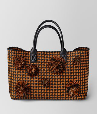 SAC CABAT EN CUIR INTRECCIATO ORANGE/NERO À CARREAUX