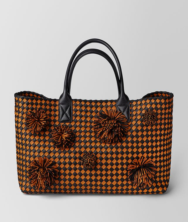 BOTTEGA VENETA ORANGE/NERO INTRECCIATO CHECKER CABAT Tote Bag [*** pickupInStoreShipping_info ***] fp