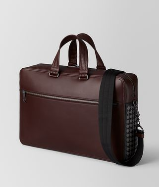 DARK BAROLO INTRECCIATO CHECKER BRIEFCASE