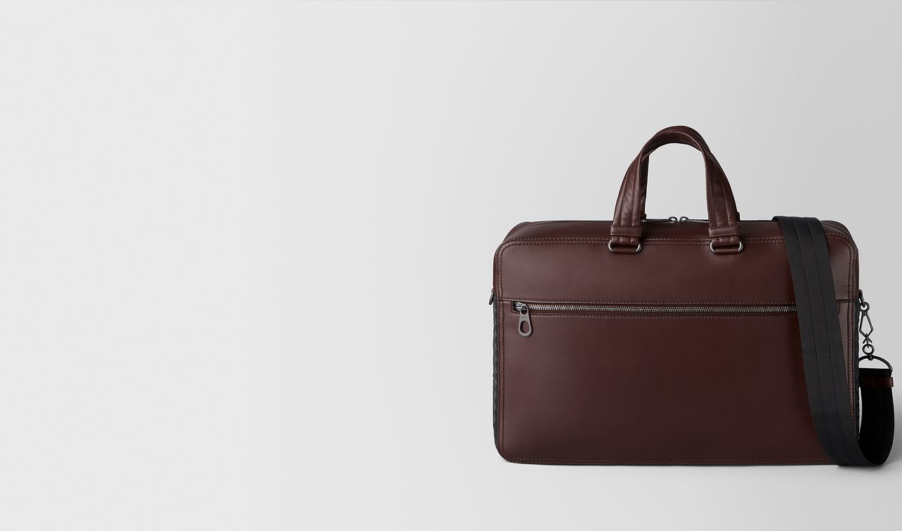 dark barolo intrecciato checker briefcase landing