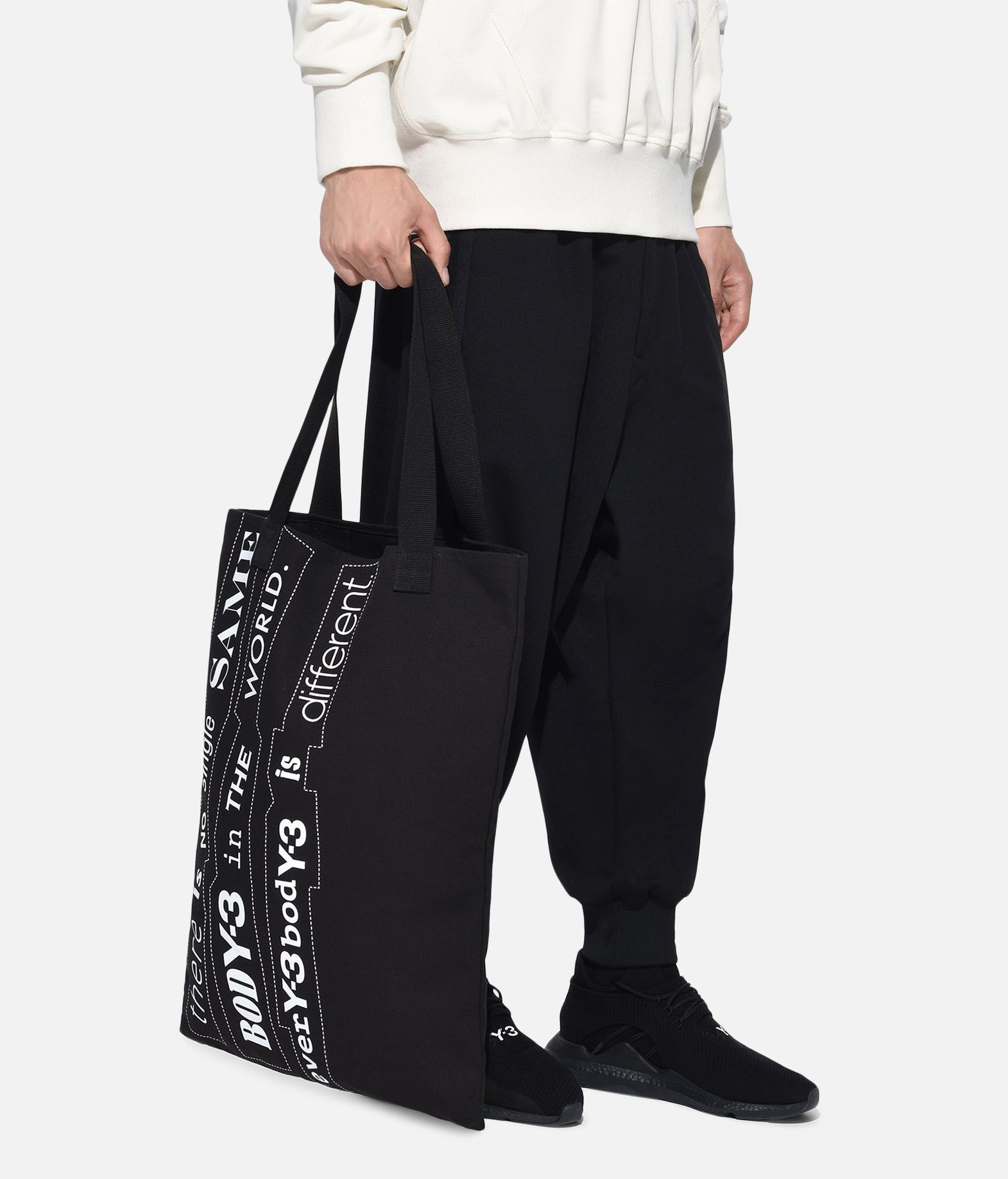 Y-3 Y-3 Slogan Tote Bag Borsa media in tessuto E a
