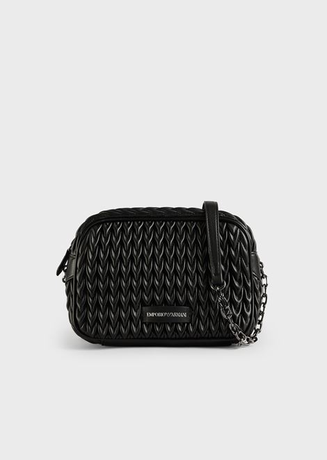 Quilted faux-nappa mini-bag with drop motif