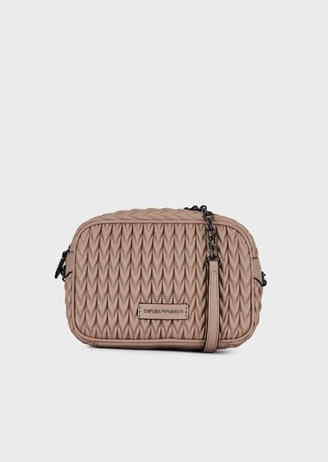 Quilted faux nappa mini-bag with drop motif