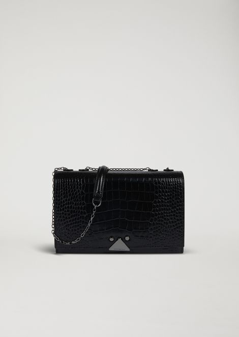 Shoulder bag in glossy croc print leather