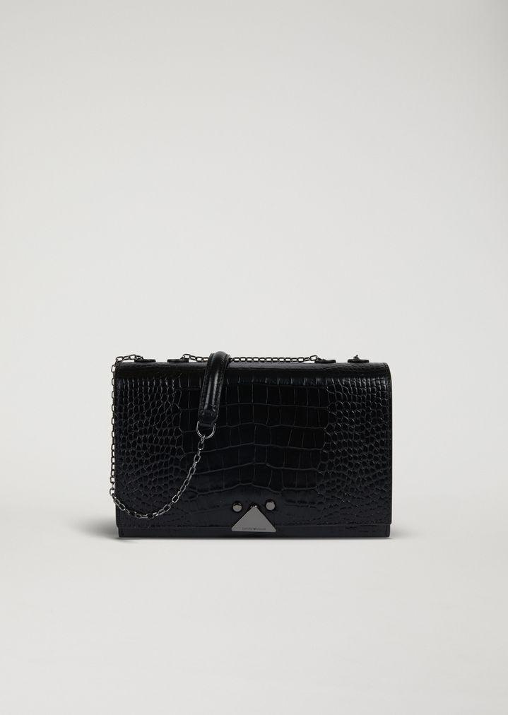 Sac porté épaule en cuir brillant imprimé crocodile   Femme   Emporio Armani 0c68c8367f24