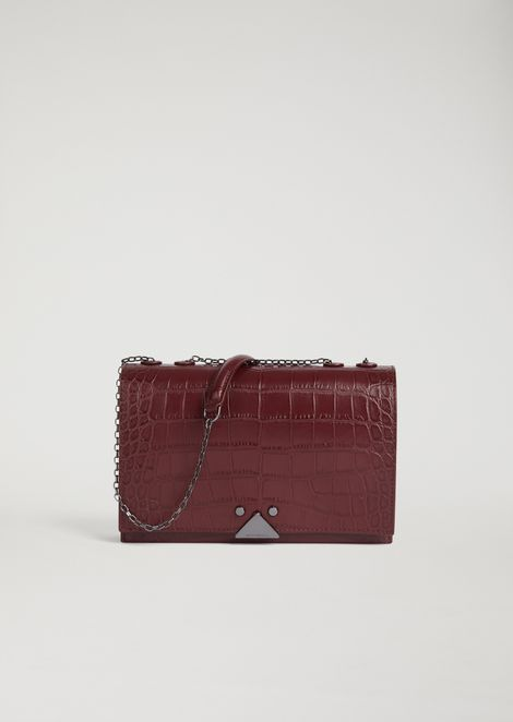 Croc print genuine leather crossbody bag with logo detail