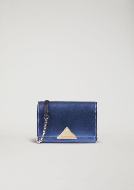 Laminated leather mini crossbody bag