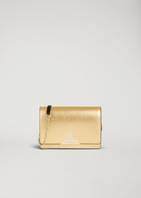 Laminated leather mini crossbody bag