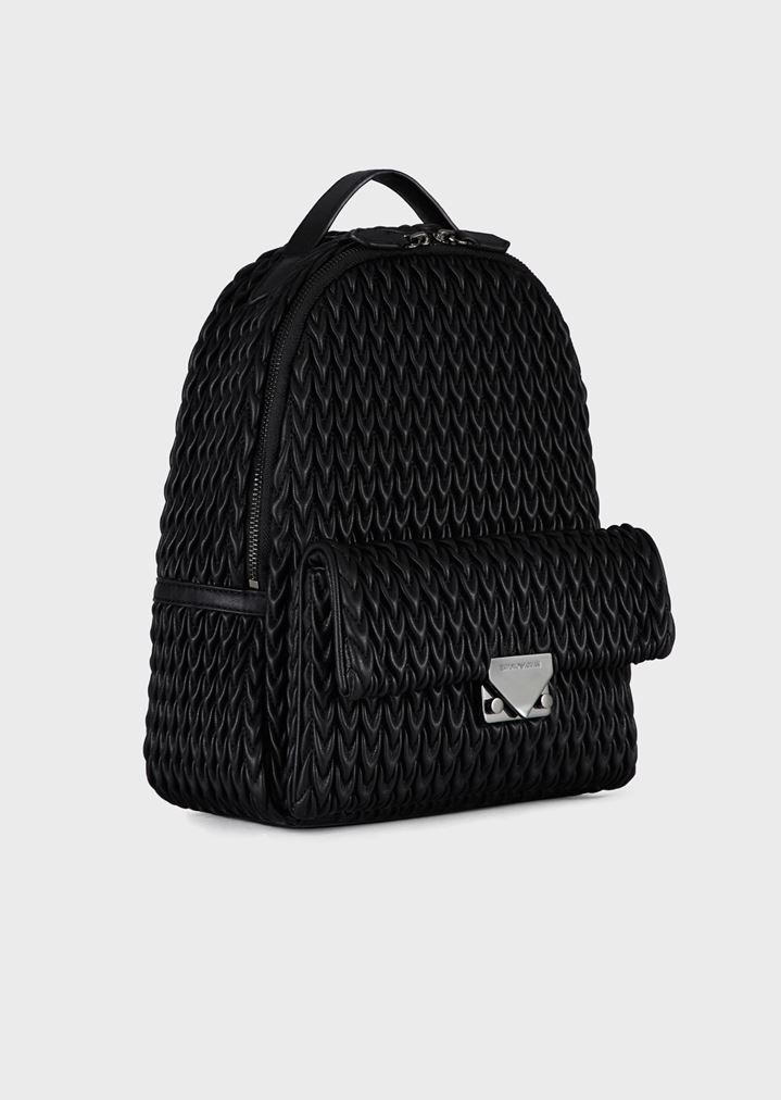 195c323c11f ... Woman · Backpacks  Quilted faux nappa backpack with drop pattern. EMPORIO  ARMANI