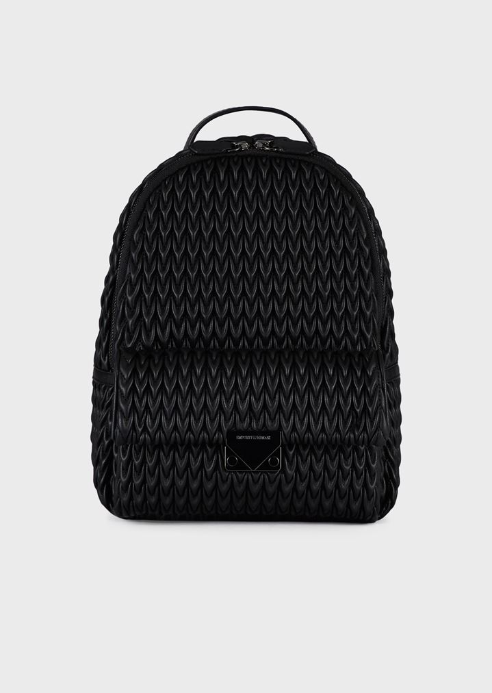 fbbb6c17f3a Quilted faux nappa backpack with drop pattern   Woman   Emporio Armani