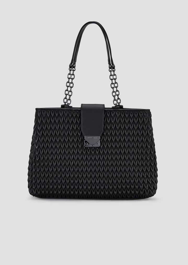 Shopping bag in quilted eco-nappa with drop motif  aa415b3567ef4