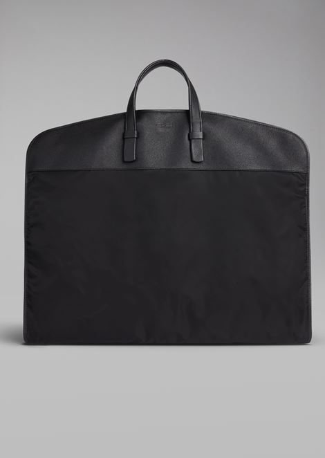 Nylon garment bag with leather details