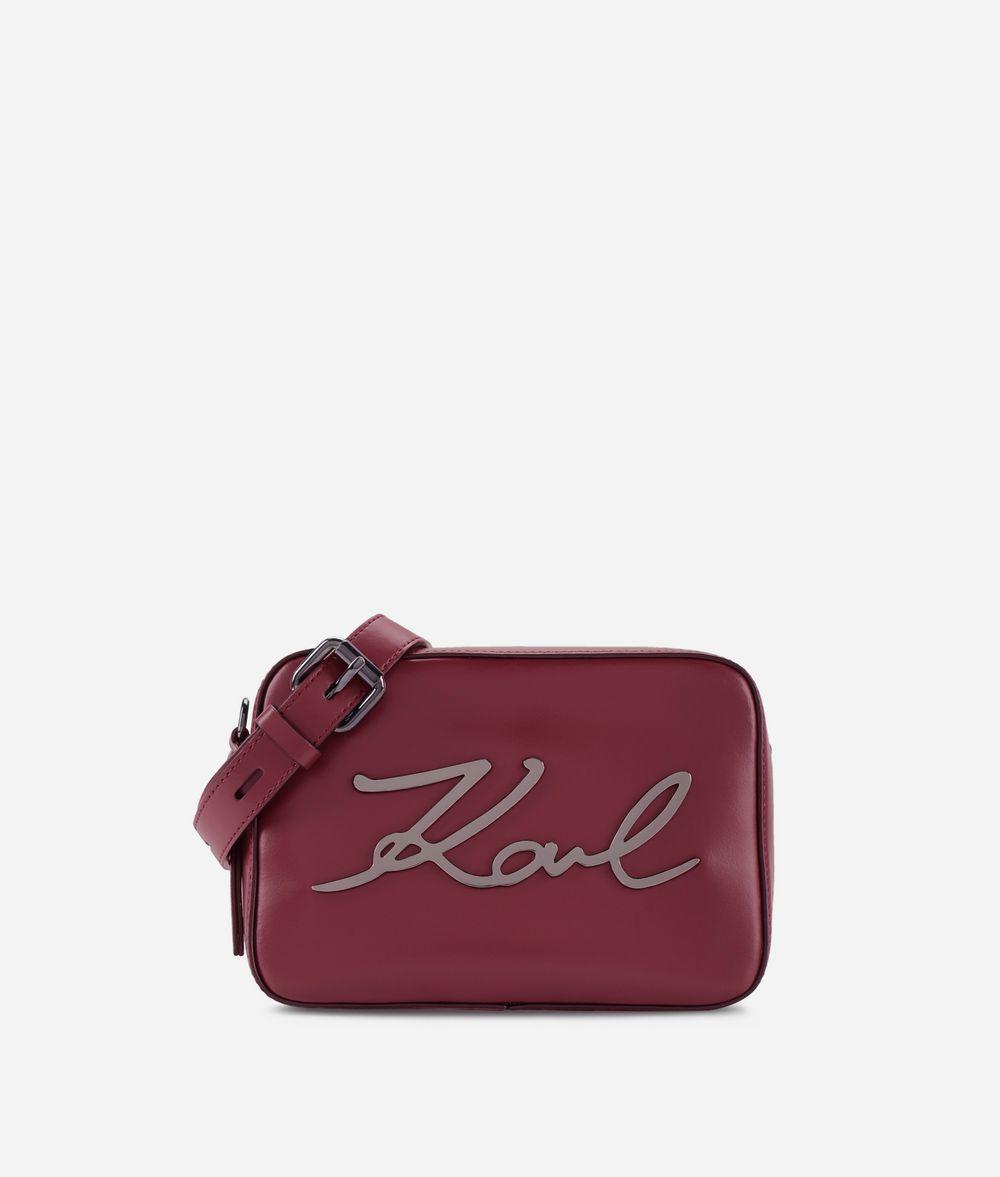 KARL LAGERFELD Kompakte K/Signature Tasche aus Leder Crossbody Bag Damen f