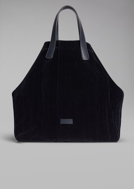 Velvet tote bag with wrinkle effect
