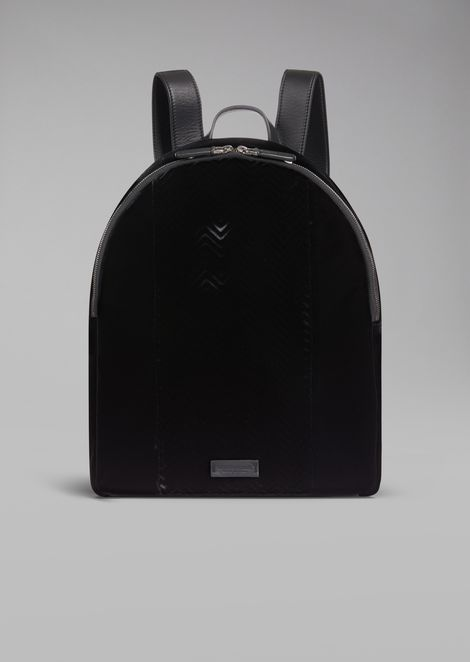 Velvet backpack with chevron motif and leather details