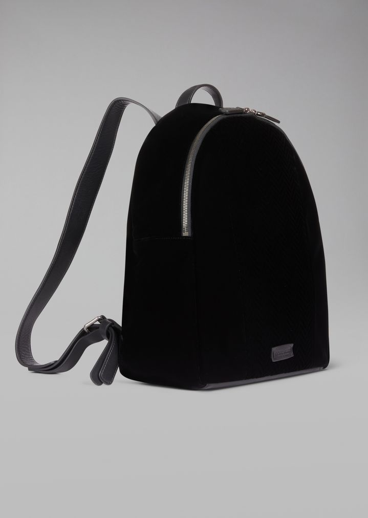 ... Velvet backpack with chevron motif and leather details. Runway item 5d4a71fccf86a