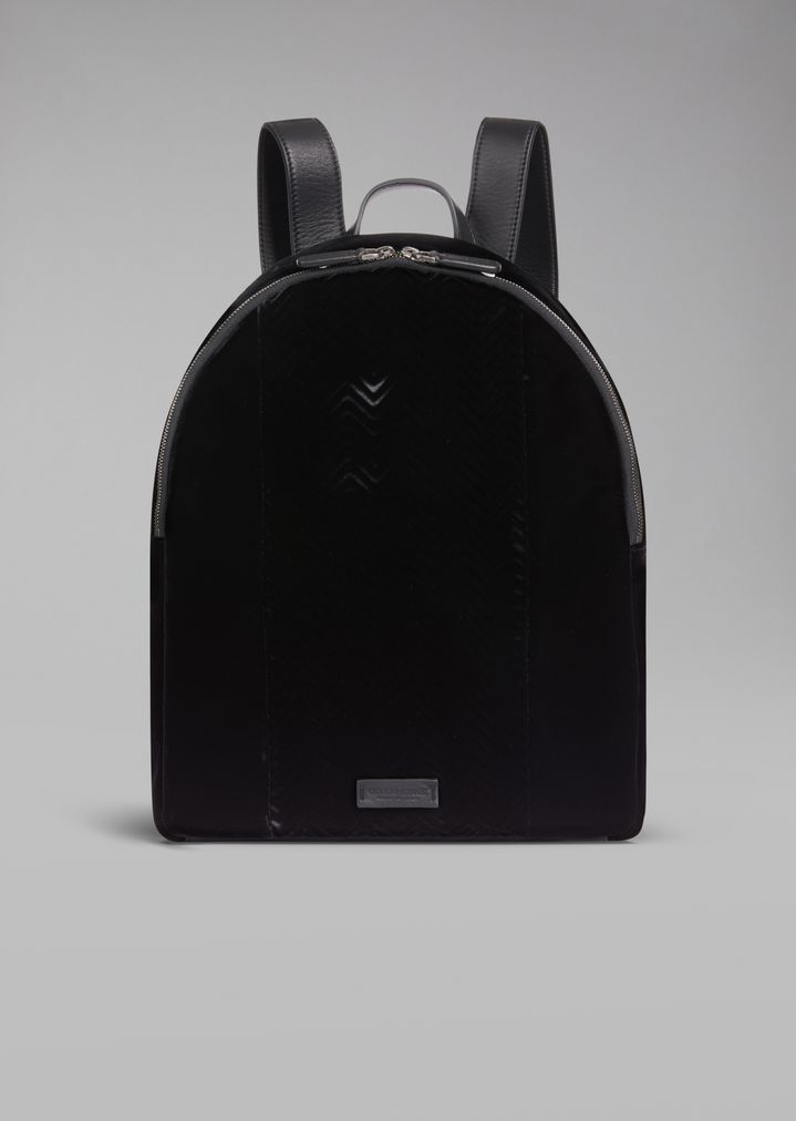 Velvet backpack with chevron motif and leather details  dc778bcb406a9