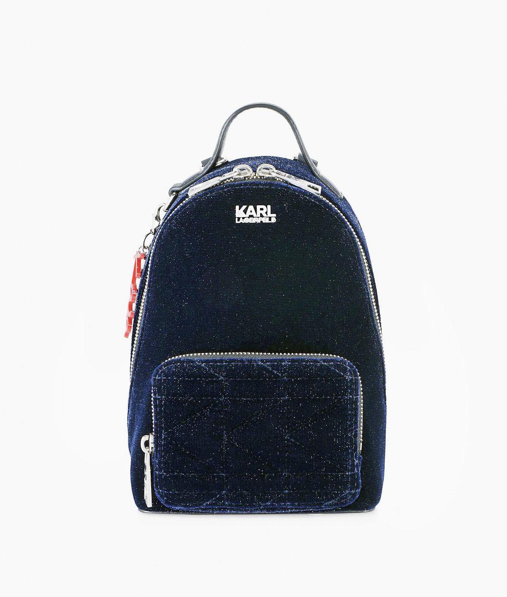 KARL LAGERFELD Karl X Kaia Glitter Velvet Mini Backpack Backpack Woman f