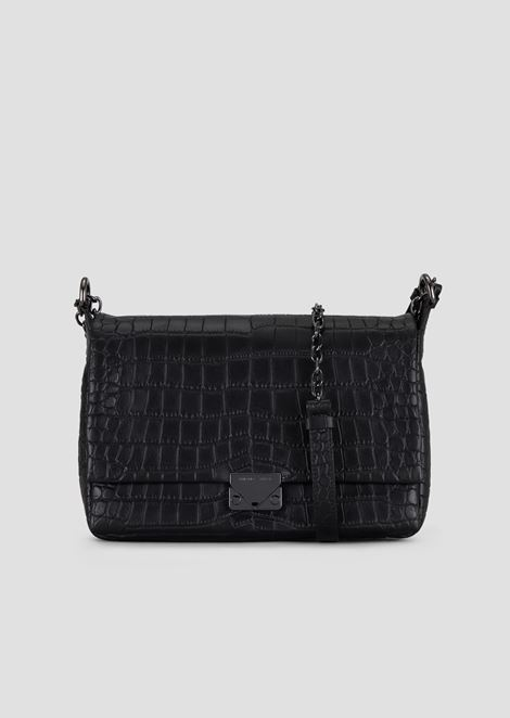 Shoulder bag in croc-print leather