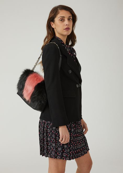 Shoulder bag with two-colour faux fur inlay