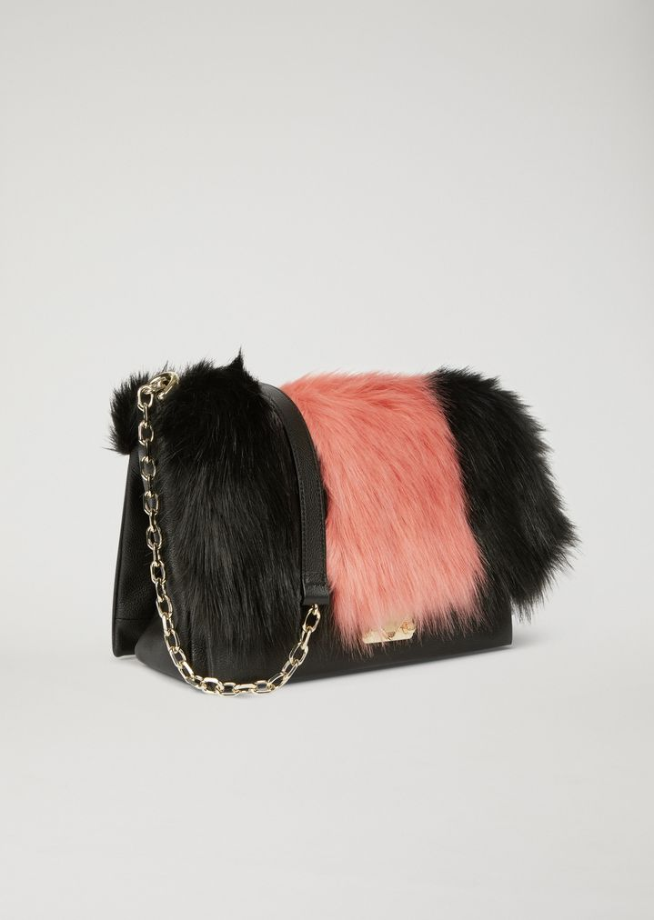 51b77a58d2fc ... Shoulder bag with two-colour faux fur inlay. EMPORIO ARMANI