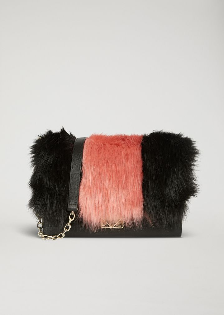 9dbc7b0f4722 Shoulder bag with two-colour faux fur inlay