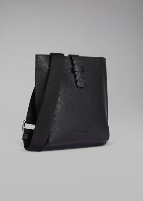 Flat crossbody bag in grained leather with fabric strap