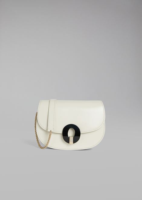 Smooth leather crossbody bag with plexiglass closure