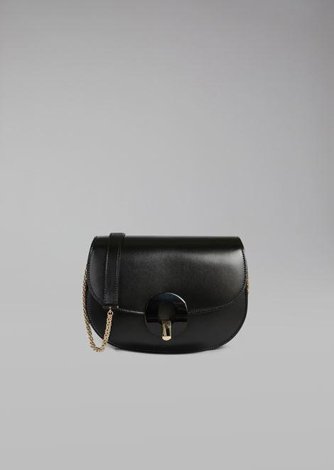 Smooth leather crossbody bag with plexiglass closure