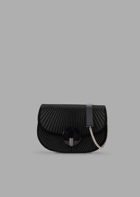 Chevron velvet crossbody bag with satin base